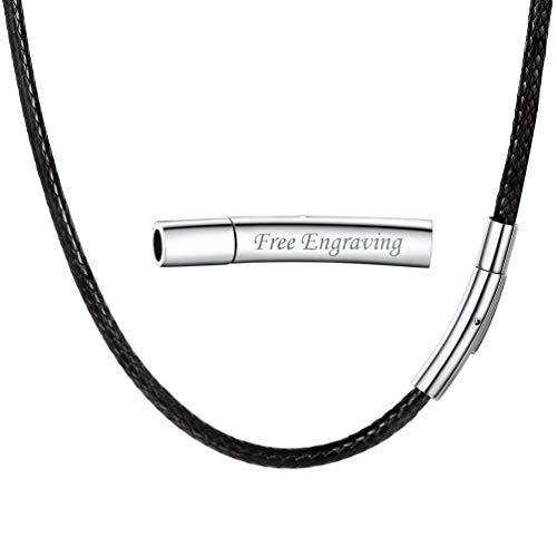 PROSTEEL personalisiert Kunstleder Halskette/Armband 3mm Schwarz geflochten Lederkette Lederband Damen Herren Kette für Anhänger mit Name Gravur Edelstahl Verschluss(41cm/16)