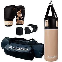 ScSPORTS Boxsack-Set, für Jugendliche und Kinder, Box-Set mit Boxhandschuhen, Boxbandagen und Tasche, 12 kg, beige/schwarz