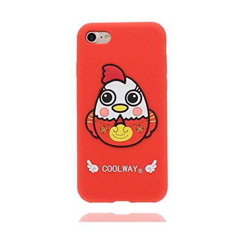 iPhone 7 Custodia, TPU unico progettato morbido paraurti Shell Skin / Cartoon Copertura iPhone 7 4.7 pollici ( 3D pollo chick ), Case Resistente agli urti di polvere rosso