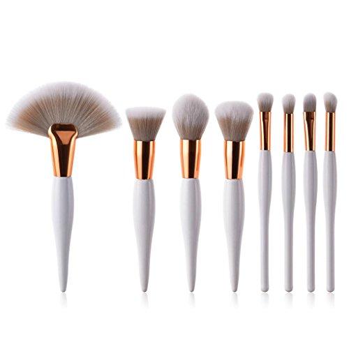 8PCS composent des brosses, Honestyi Brosse cosmétique de Base Sourcil Eyeliner Rougir Concealer (4 pcs, Blanc 1)