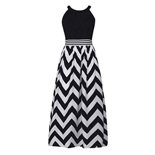 id damen liusdh Ärmelloses gestreiftes Kleid im Boho-Stil mit Patchwork-Muster(Black,L) ()