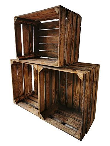 Geflammte Holzkisten im praktischen 3er Set 50 x 40 x 30cm : Originale, Vintage Obstkisten Apfelkisten aus dem Alten Land zum Möbelbau oder Dekoration mit den Maßen 50 x 40 x 30cm