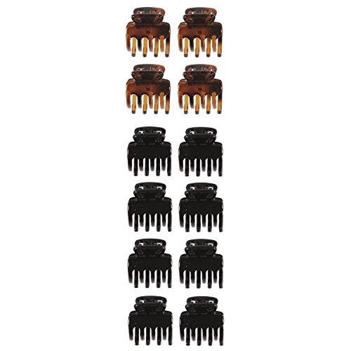 Lot de 12 Mini Pinces Crabe en Plastique - Noir et Marron Ecaille - Accessoire Cheveux Coiffure