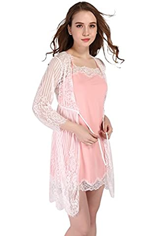 Vislivin Women's Two Piece Negligee and Nightgown Set Pink XL