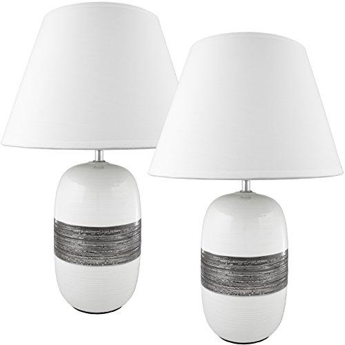 BRUBAKER Lampe de table/de chevet - Lot de 2 - Pied en Céramique Blanc Argenté brillant - Abat-jour Noir - Design moderne - Hauteur 45 cm