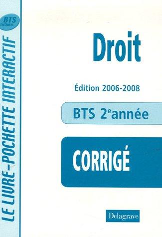 Droit BTS Tertiaires 2e année : Livre du professeur par André Bollard