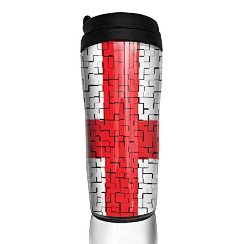Travel Coffee Mug Georgia Flag Puzzle 12 Oz Spill Proof Flip Lid Water Bottle Environmental Protection Material ABS