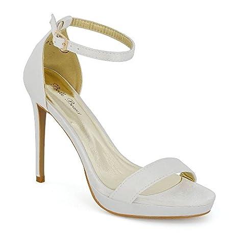 ESSEX GLAM Platform Barely There Heels, Bride de cheville femme - ivoire - Satin ivoire,
