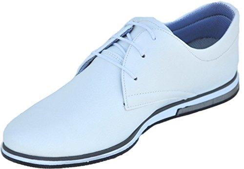 Tamboga Derbies Homme à Lacets - Chaussures Casual à Semelles Blanches - Derby Fashion 211 Blanc