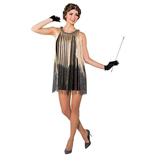 Fransenkleid gold, Gr. S/M, Tanzkleid Charleston Kostüm Kleid gold 20er Jahre Fasching