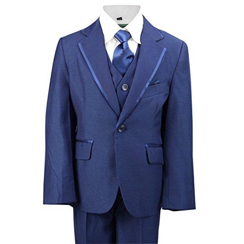 Kinder Page Boy Anzug 3teilig Schwarz Blau Maroon Outfits Hochzeit Party Abschlussball formale Alter 2–12Jahre, Blau (Tuxedo Formale Hochzeit Boy Schwarz)