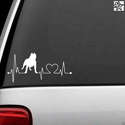 Herzschlag Aufkleber Pit Bull Pitbull 20cm Sticker Herz Fan Hobby Leidenschaft Liebe für Auto Autoaufkleber