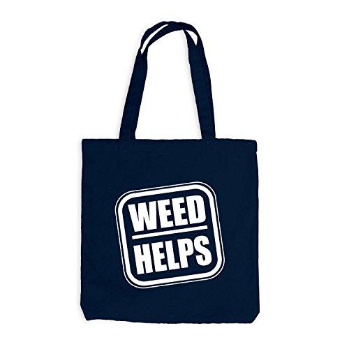 Jutebeutel - Weed Helps - Fun Spaßmotiv Therapie Spruch Navy