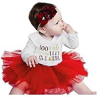 Wedding Party Birthday Dress Traje de Mameluco con Estampado de Letras navideñas para bebés y bebés Faldas de Tul Trajes