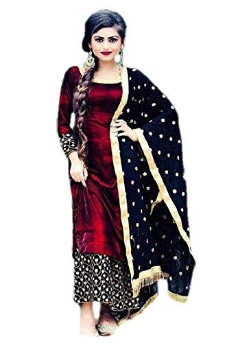 Krisha Creations Women's Cotton Silk Patiala Salwar Dress Material (KDM-341_Red_Free Size)