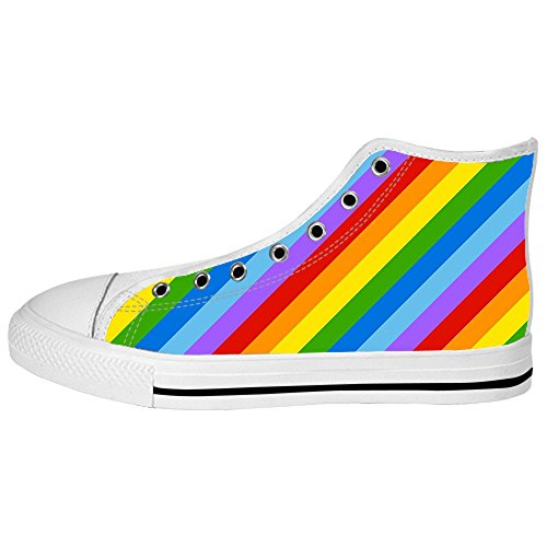 Dalliy Rainbow Men's Canvas Shoes Lace-up High-top Footwear Sneakers Chaussures de toile Baskets