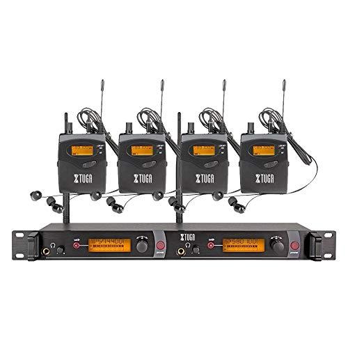 XTUGA RW2080 Rocket Audio Ganzmetall Wireless In-Ear Monitor System 2 Kanal 4 Bodypack Überwachung mit In-Ear-Kopfhörer Wireless Typ für Bühne oder Studio Audio-systeme, Wireless-kopfhörer