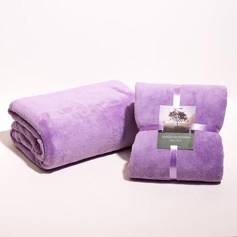 Sancarlos - Manta lisa microfibra (cama 135, 220x240 cm ), color lila