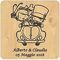 SOTTOPENTOLA legno Bomboniera Matrimonio personalizzata originale Wedding sposi