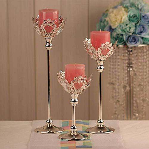CDY Weihnachtskerzenhalter Mode Hochzeit Kerzenhalter Hochzeit Herzstück Dekoration Silber Farbe Kristall Kerze Laterne Kandelaber, S
