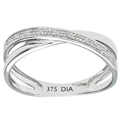 Naava - Anillo para Mujer de Oro Blanco 9K con 12 Diamantes 0.004 ct Talla 14