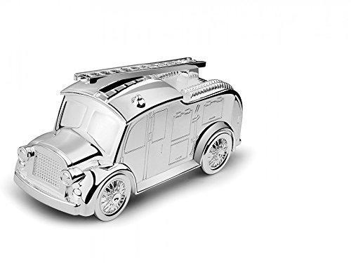 Brillibrum Design Spardose Feuerwehrauto Mit Namensgravur Glänzend Versilbert Anlaufgeschützt Feuerwehr-Wagen Kinder-Sparbüchse Mit Gravur