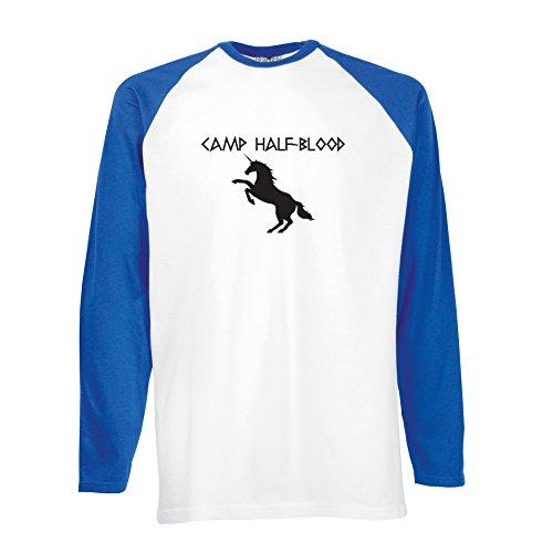 Brand88 - Camp Half Blood, Training, Olympian Inspired, Langarm Baseball T-Shirt Weiss & Blau