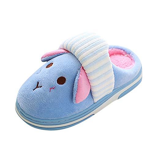 OYSOHE Kleinkind Winterhausschuhe Mädchen Jungen Karikatur Slip-On Hausschuhe Mode Plus Samt Warm Zuhause Schuhe(Himmelblau,24 EU-25 EU)