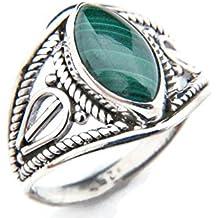 Ring Silber 925 Sterlingsilber Malachit grün Stein (MRI 70)