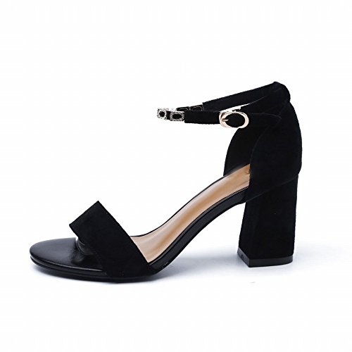 SED Spessa con un Sandalo Femminile Scarpe Col Tacco Alto 2018 Moda Fibbia in Pelle Scamosciata Sandali Scarpe Romane,UN,36