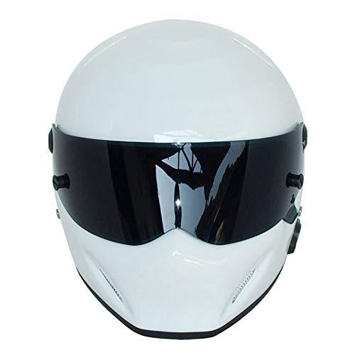 ZHAORLL Casco Moto Casco Integrale Autunno E Inverno Caldo Kart Racing in Vetroresina Casco Bluetooth ATV-5 Bianco (M, L, XL, XXL),M