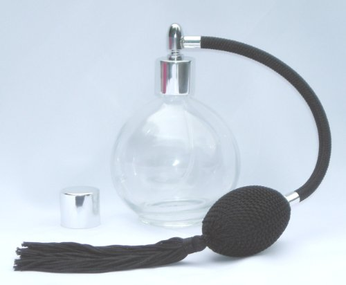 Private Label 4.33 Oz. Round Glass Perfume Bottle With Black Antique Style Sprayer Top With Tassle Empty & Refillable