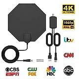 Antena TV Interior-Bqeel Antena TV octágono portátil HDTV Digital con Amplificador de señal Inteligente para Canales de TV 1080P 4K obtén más Canales Gratis