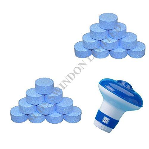 SUDS-ONLINE dispensador FLOTANTE + 5último tabletas de cloro 20G jacuzzi piscina Tablet