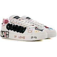 671fb602def Dolce   Gabbana Chaussures Baskets Sneakers Femme en Cuir Blanc