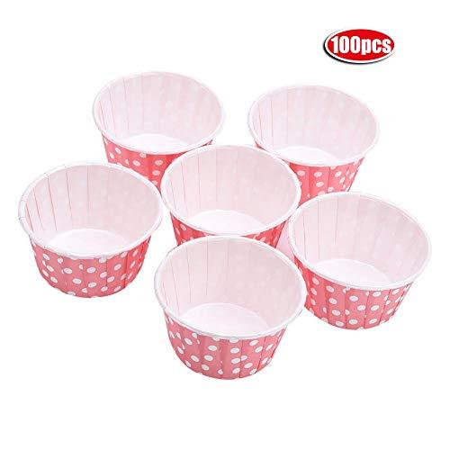 Mini-Cupcake-Backförmchen aus Papier, rund, bunte Punkte, 100 Stück rose (Rose Papier-backförmchen)
