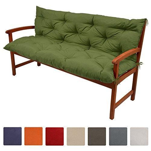 Beautissu Flair BR - Colchón, respaldo, cojín de bancos de jardín, terraza o balcón - 120x50x50 cm - Verde