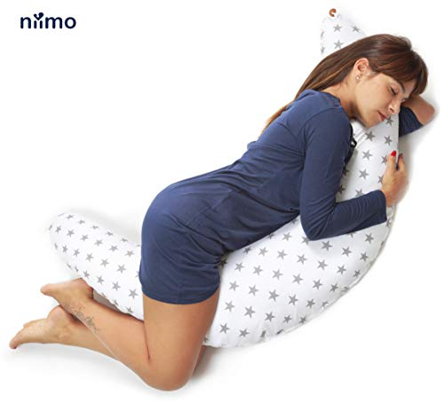 Stillkissen Schwangerschaftskissen zum schlafen groß XXL erwachsene mit Bezug aus 100% Baumwolle Lagerungskissen Seitenschlaferkissen fur Mutter und Baby in verschiedene Farben von Niimo