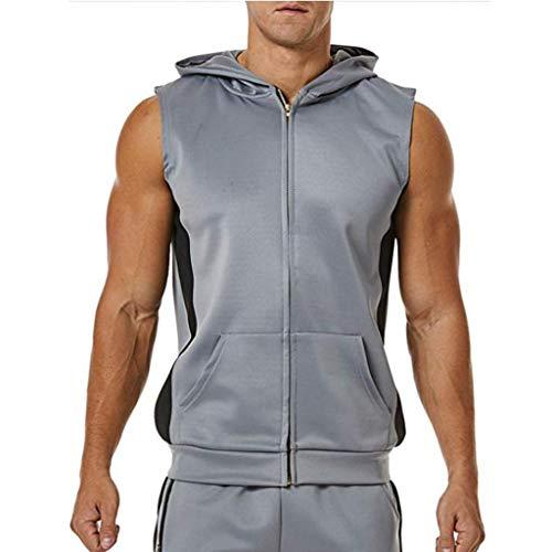 Hahuha Oberteile für Männer,Männer Zipper Splicing Sports Vest gestreift Splice große offene Male Vest