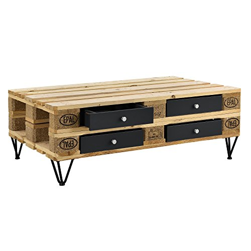 [en.casa] Stilvolle Europaletten-Schublade perfekt integrierbar - schwarz - 9,5cmx37,5cmx44,5 cm