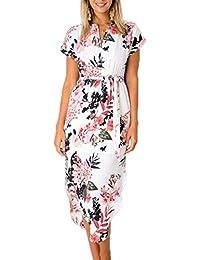 4a4f29cdd13d Ajpguot Donna Scollo V Corta Abito a Manica Corta Estivo Bohemian Vestiti a Stampa  Fiore Elegante Vestito da Spiaggia Partito Midi Abiti con…