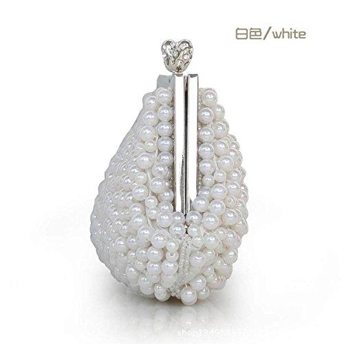 Borsa Della Signora Sweet Lady Rilievo Handmade Cosmetics Cellulare Partito White