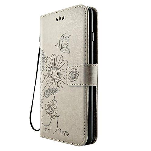 iPhone 8 Plus Hülle, Fraelc iPhone 7 Plus Premium Kunstleder Brieftasche Case im Bookstyle Flip Wallet Cover mit Kartenfächer und Standfunktion Leder Hülle für iPhone 7 Plus / iPhone 8 Plus Tasche in  Grau