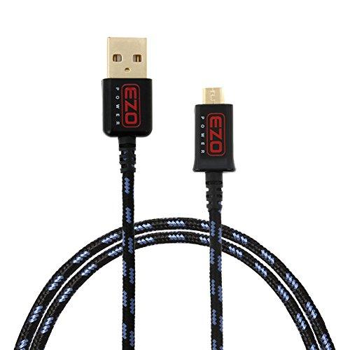 EZOPower Cable de Micro USB, Nylon Trenzado, Carga y Datos, Color Azul y Negro, 1 metro