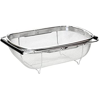 Beautiful Premier Housewares Over Sink Drainer With Black Extendable Handles    Stainless Steel