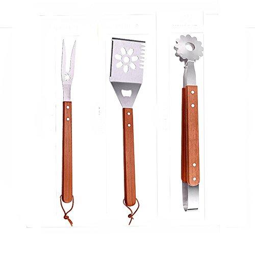 Yiki grill set-3PIECE BBQ Tools-Heavy Duty-barbecue posate da barbecue in acciaio INOX premium Grilling accessori per barbecue-Spatola, pinze, forchetta.