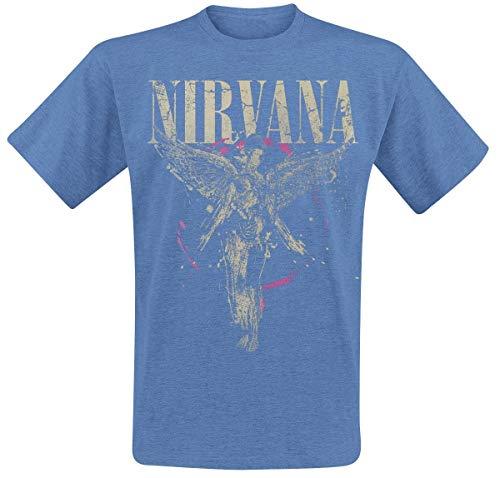 Nirvana In Utero Camiseta Azul jaspe M