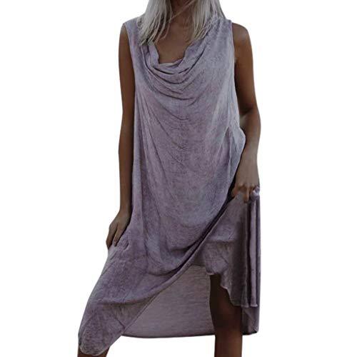 Sommerkleid Leinen Kleider Damen V-Ausschnitt Strandkleider Einfarbig A-Linie Kleid Boho Knielang Kleid Ohne Zubehör