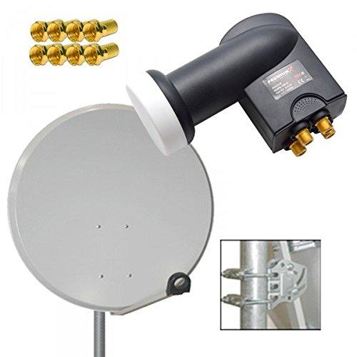 PremiumX Digital SAT Anlage 80cm Stahl Schüssel Spiegel Antenne Hellgrau + PremiumX Quad LNB PXQS-SE 0,1dB für 4 Teilnehmer + 8 F-Stecker 7mm vergoldet