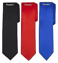 Sorella'z Combo of Black, Royal Blue & Red Neckties